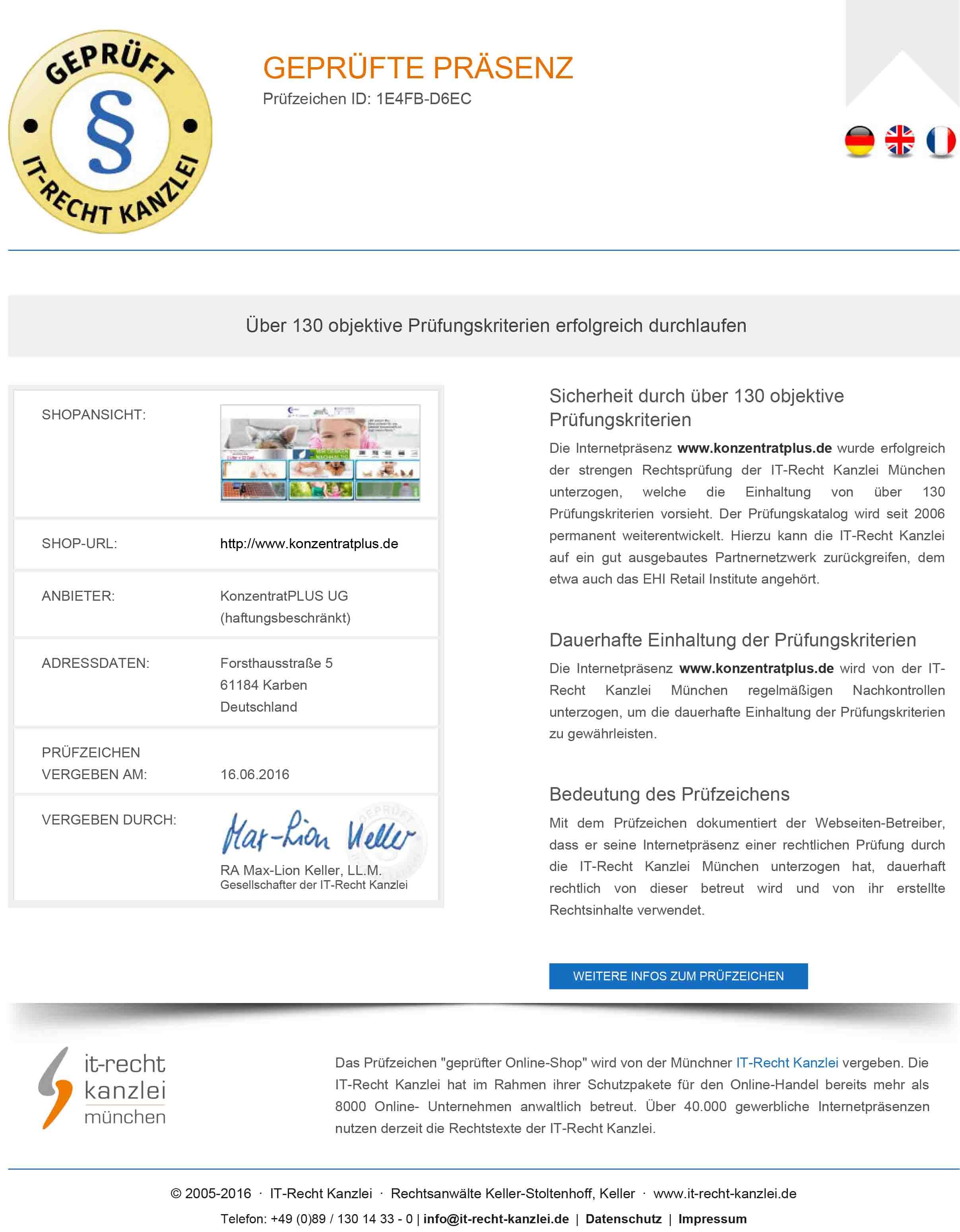 Zertifikat KonzentratPLUS