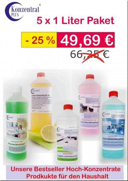 Fünf Reinigungsmittel im Paket zum Angebotspreis.
