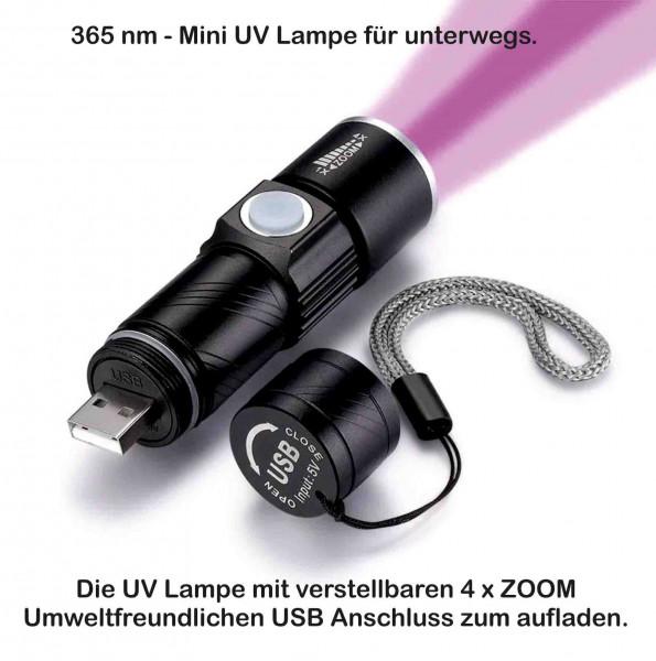 UV Taschenlampe mini USB Zoom